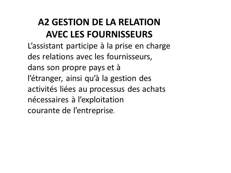 A2 GESTION DE LA RELATION AVEC LES FOURNISSEURS