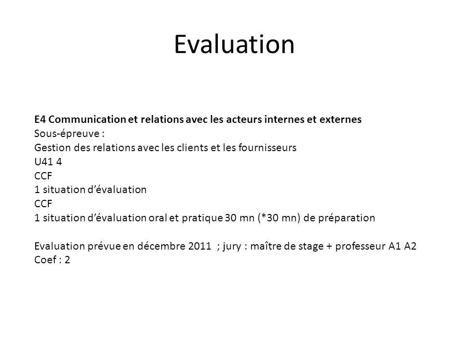 Evaluation E4 Communication et relations avec les acteurs internes et externes. Sous-épreuve :