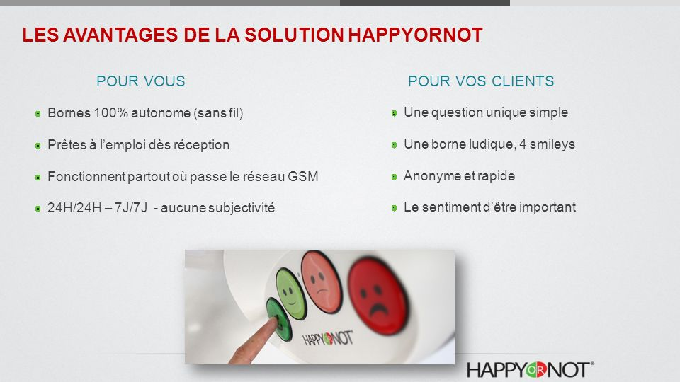 LES AVANTAGES DE LA SOLUTION HAPPYORNOT