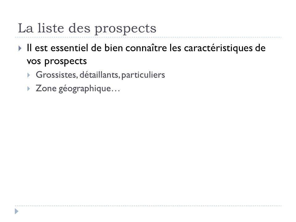 La liste des prospects Il est essentiel de bien connaître les caractéristiques de vos prospects. Grossistes, détaillants, particuliers.