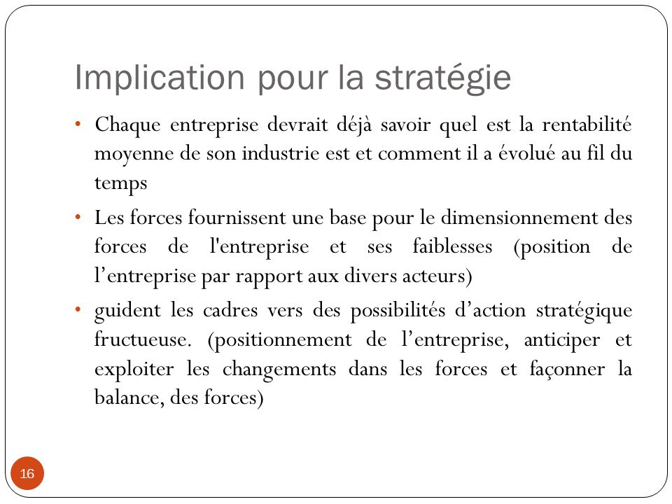 Implication pour la stratégie