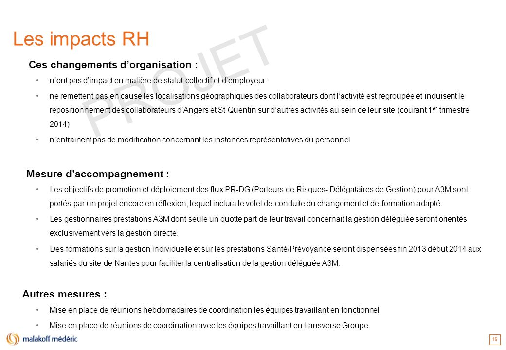 PROJET Les impacts RH Mesure d'accompagnement : Autres mesures :