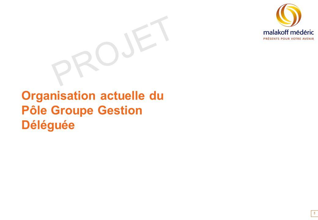 Organisation actuelle du Pôle Groupe Gestion Déléguée