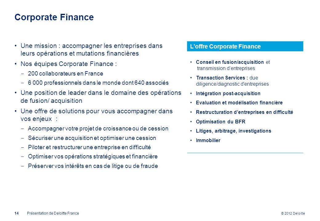 Corporate Finance Une mission : accompagner les entreprises dans leurs opérations et mutations financières.