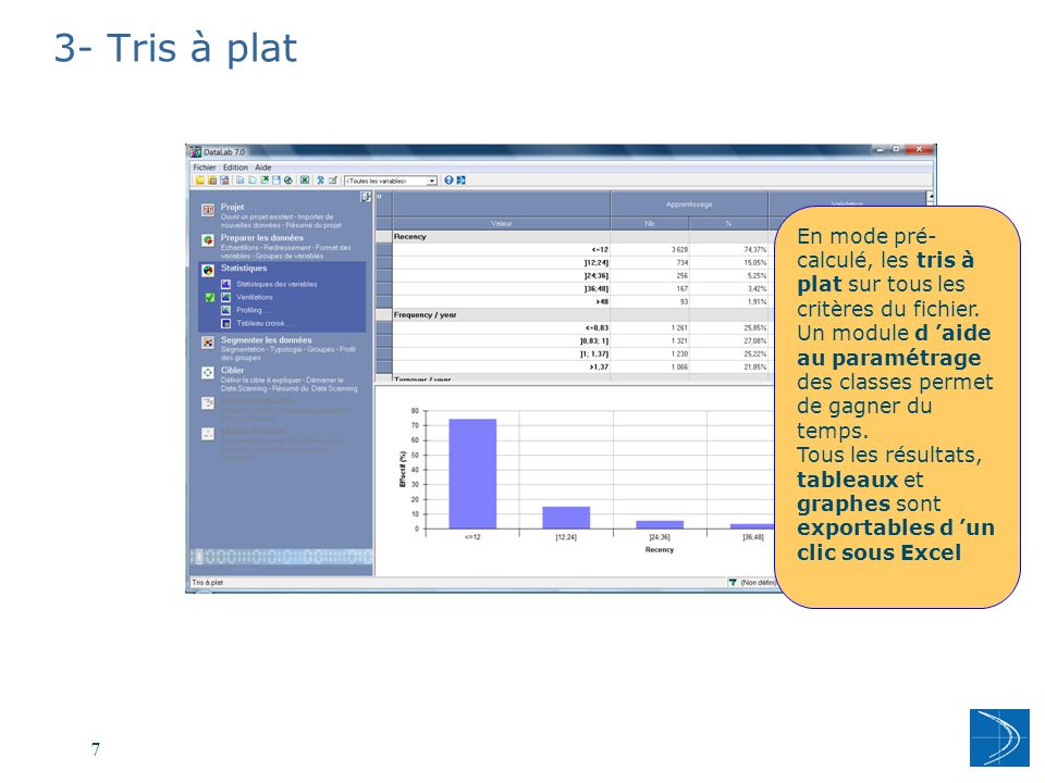 3- Tris à plat En mode pré-calculé, les tris à plat sur tous les critères du fichier.