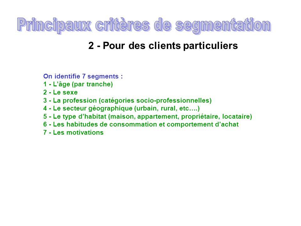 Principaux critères de segmentation