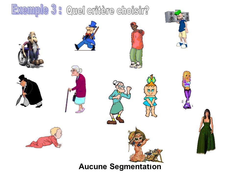 Exemple 3 : Quel critère choisir Aucune Segmentation