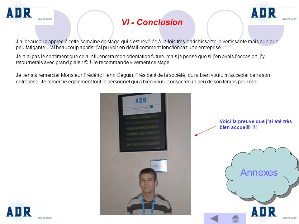 Annexes VI - Conclusion