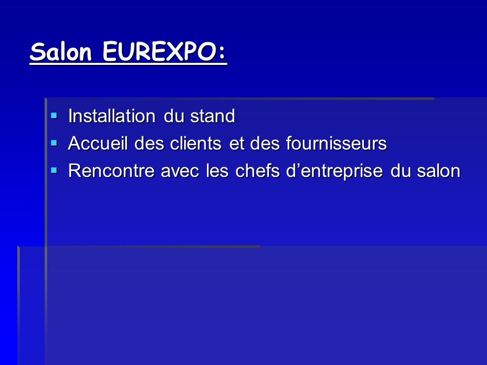 Salon EUREXPO: Installation du stand