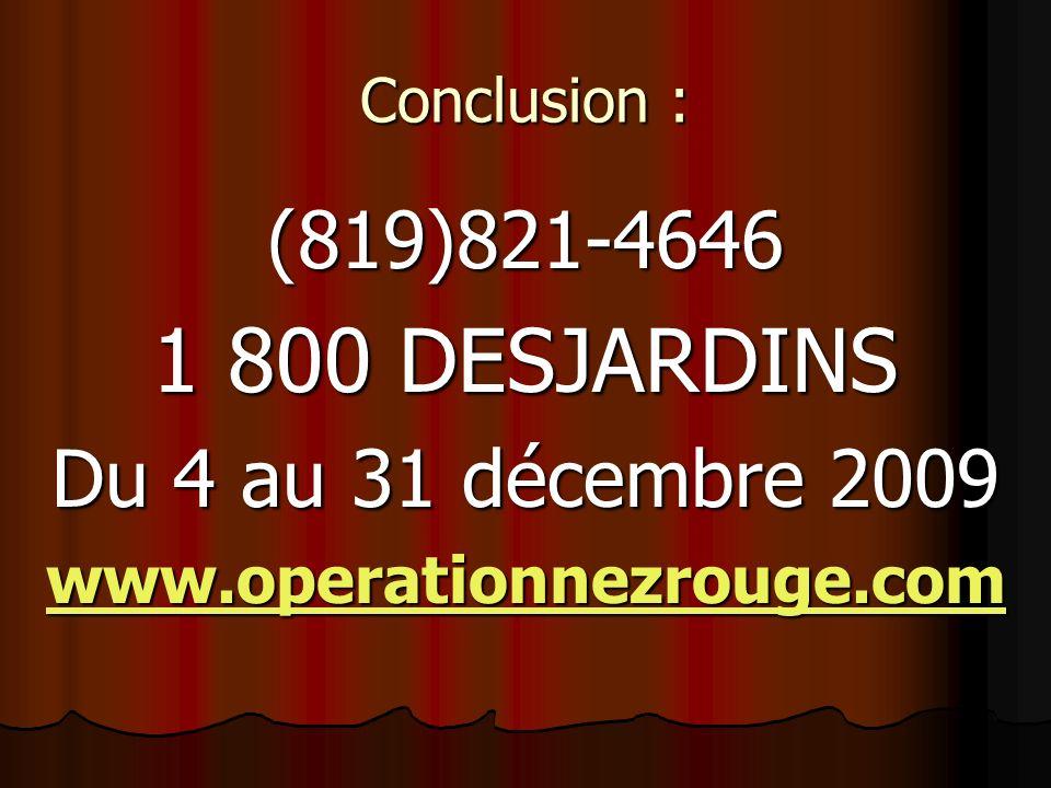 1 800 DESJARDINS (819)821-4646 Du 4 au 31 décembre 2009