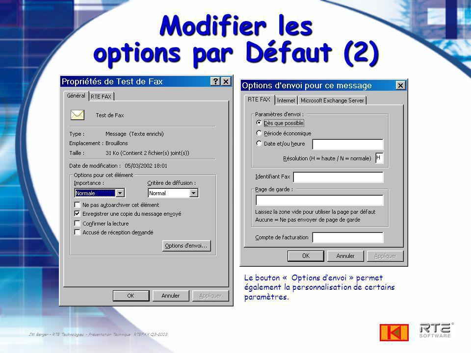 Modifier les options par Défaut (2)
