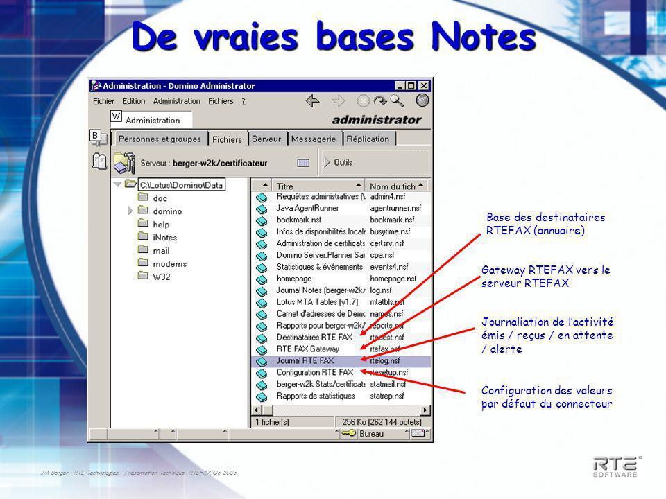 De vraies bases Notes Base des destinataires RTEFAX (annuaire)