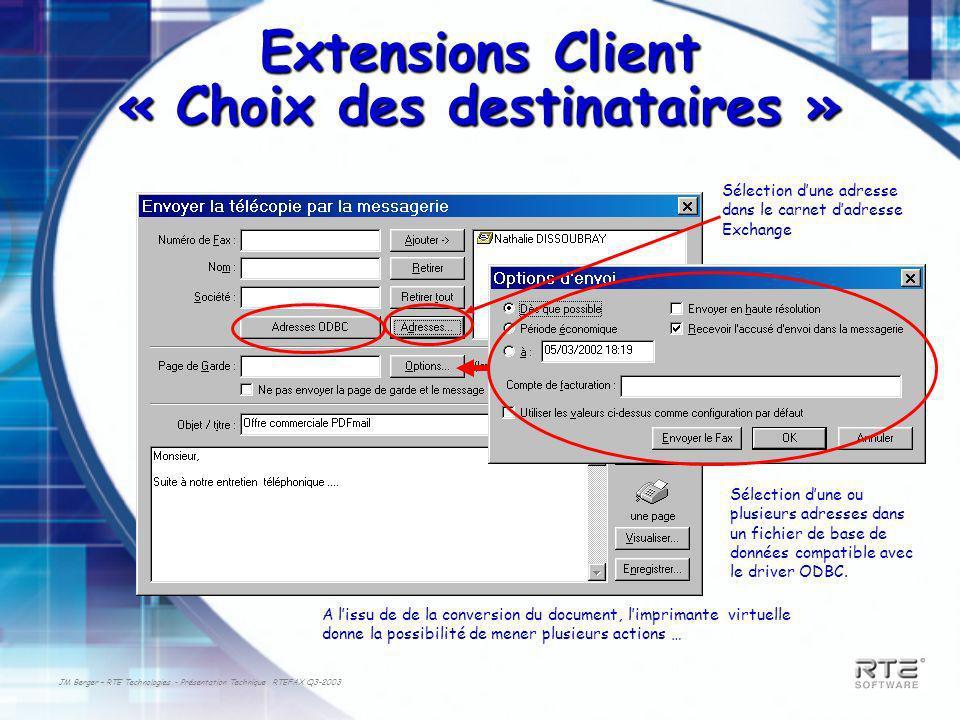 Extensions Client « Choix des destinataires »