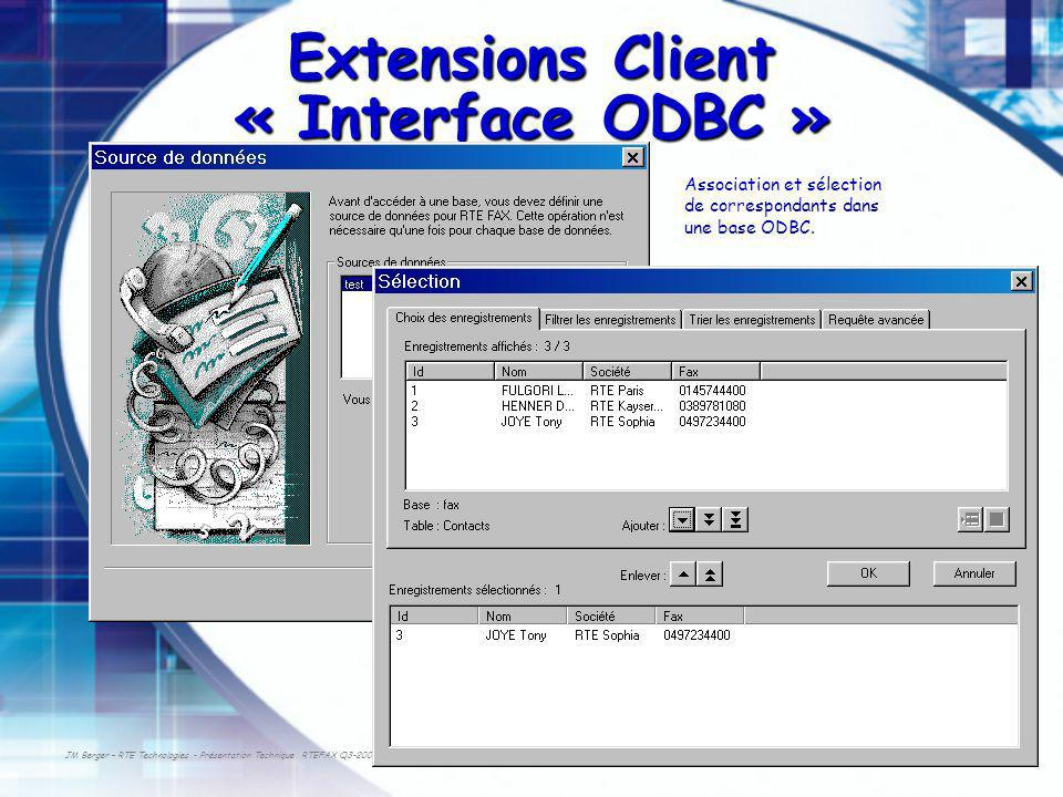 Extensions Client « Interface ODBC »