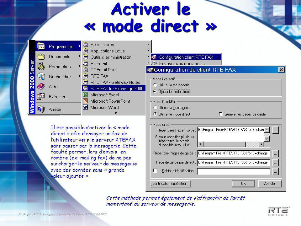 Activer le « mode direct »