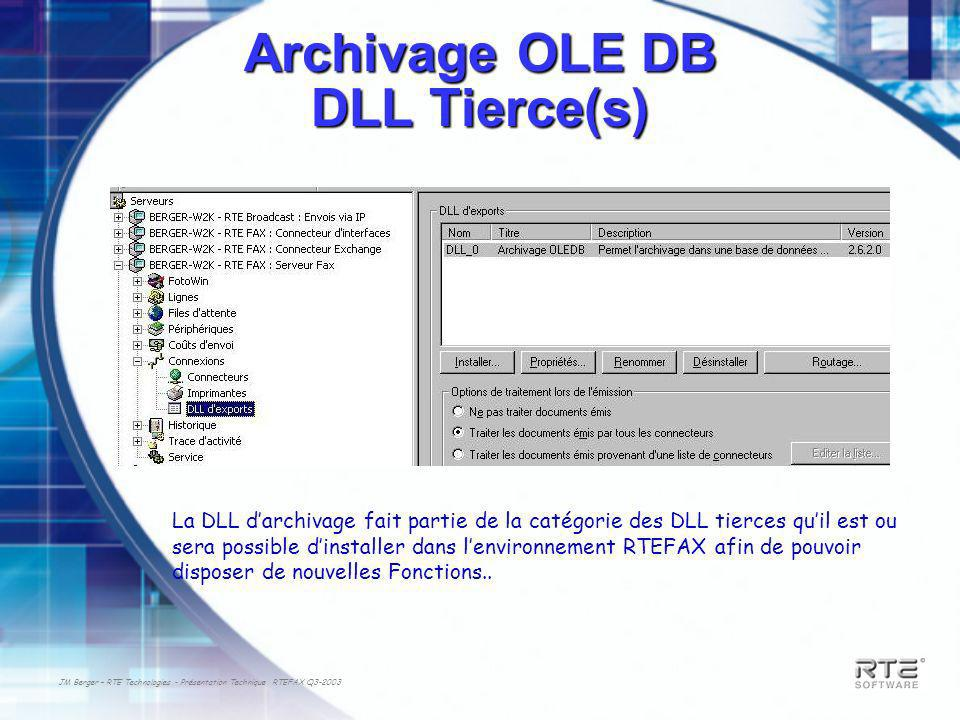 Archivage OLE DB DLL Tierce(s)