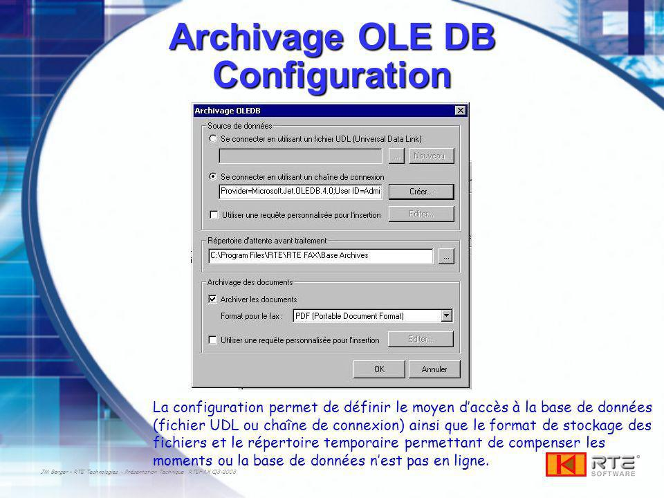 Archivage OLE DB Configuration