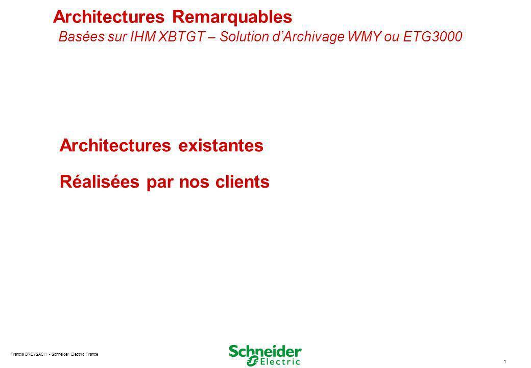 Architectures Remarquables Basées sur IHM XBTGT – Solution d'Archivage WMY ou ETG3000