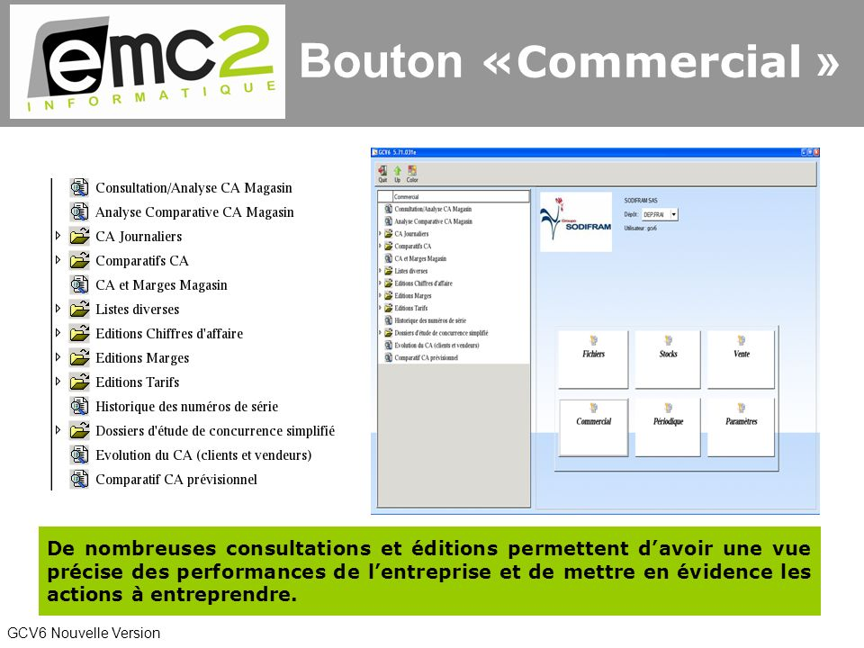 Bouton «Commercial »