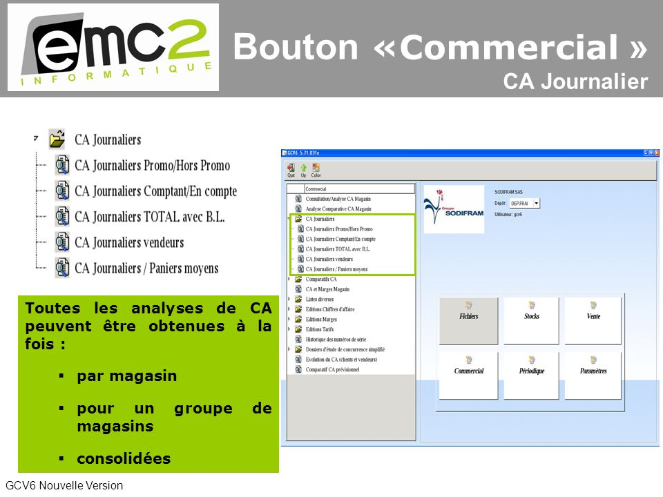 Bouton «Commercial » CA Journalier