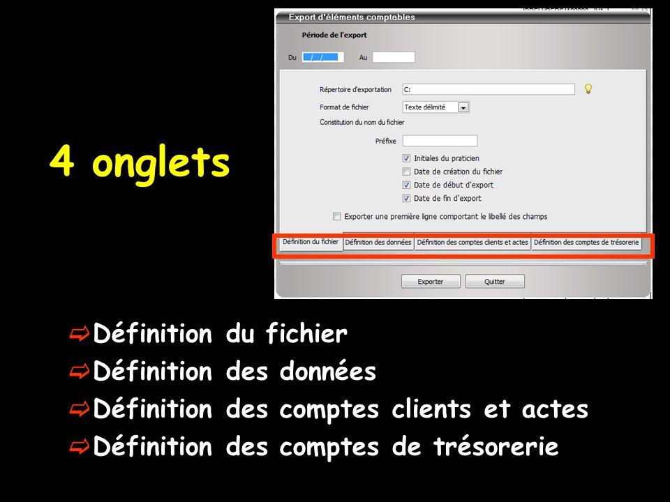 4 onglets Définition du fichier Définition des données