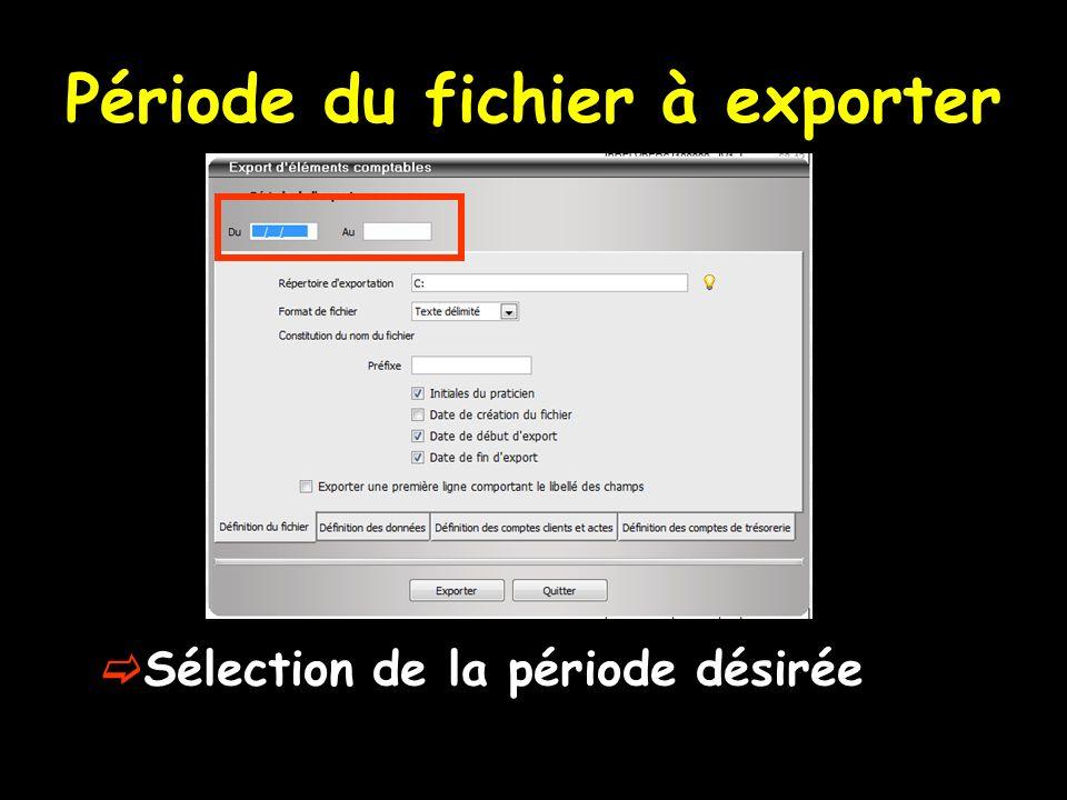 Période du fichier à exporter