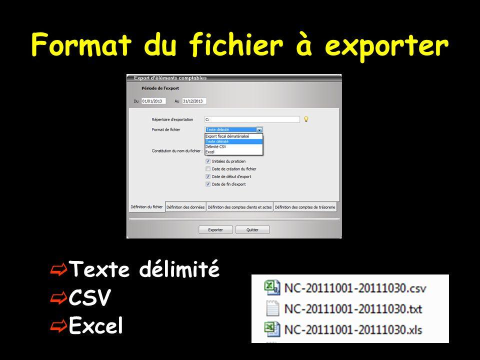 Format du fichier à exporter