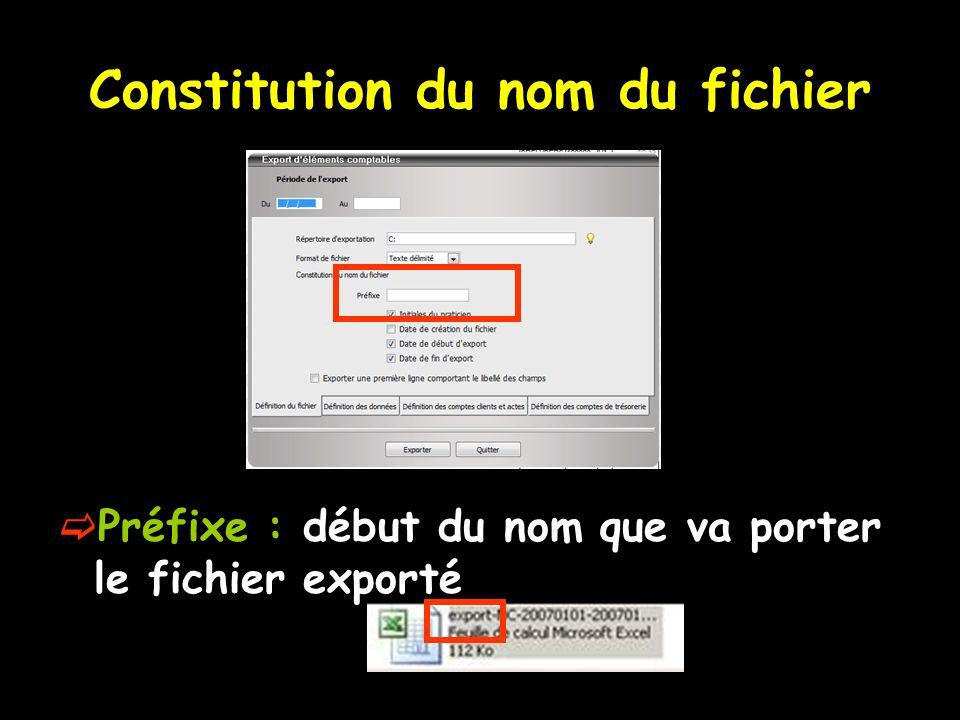 Constitution du nom du fichier