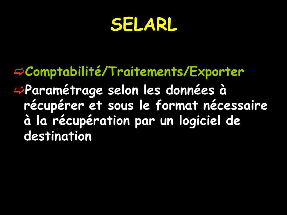 SELARL Comptabilité/Traitements/Exporter
