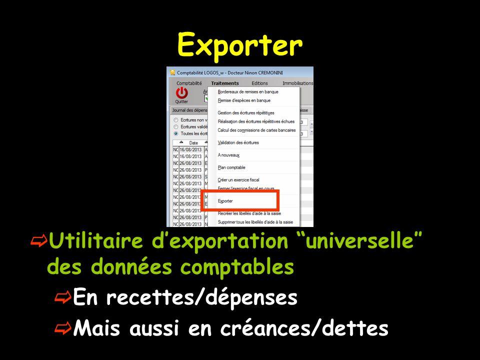 Exporter Utilitaire d'exportation universelle″ des données comptables