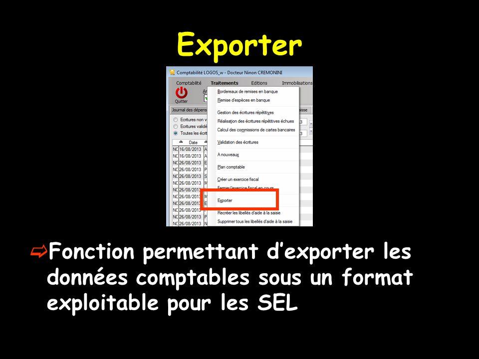 Exporter Fonction permettant d'exporter les données comptables sous un format exploitable pour les SEL.