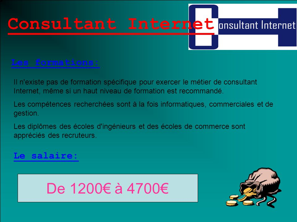 Consultant Internet De 1200€ à 4700€ Les formations: Le salaire: