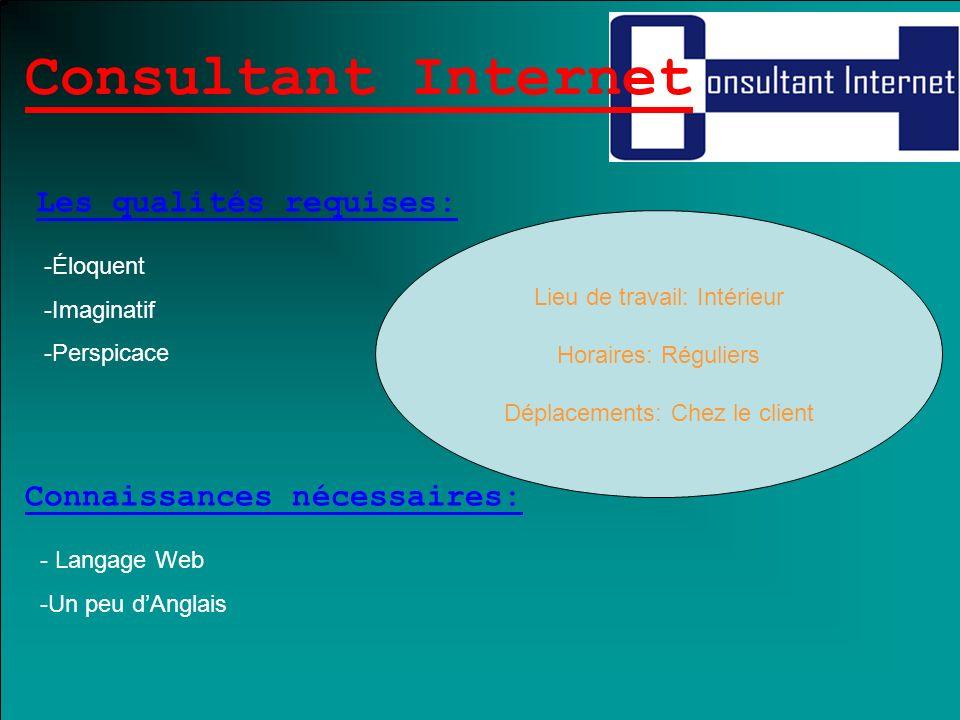 Consultant Internet Les qualités requises: Connaissances nécessaires: