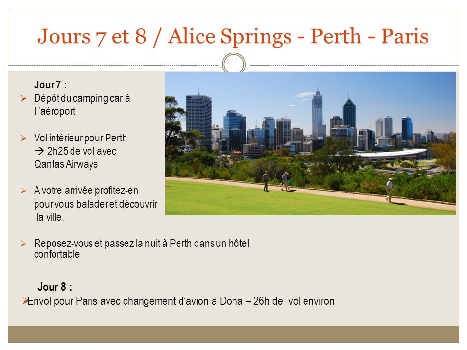 Jours 7 et 8 / Alice Springs - Perth - Paris