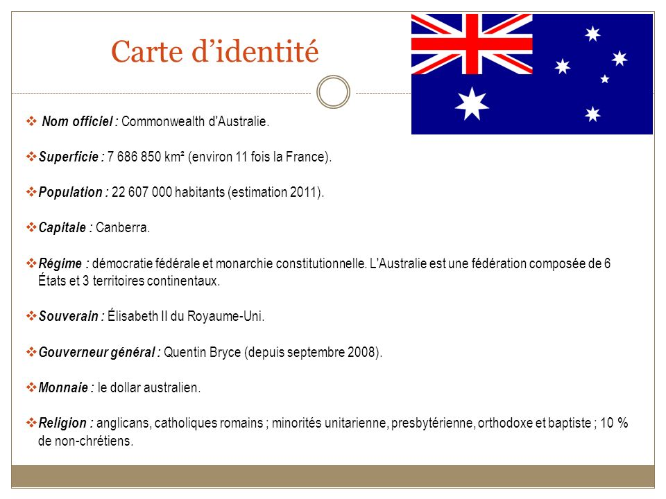 Carte d'identité Nom officiel : Commonwealth d Australie.