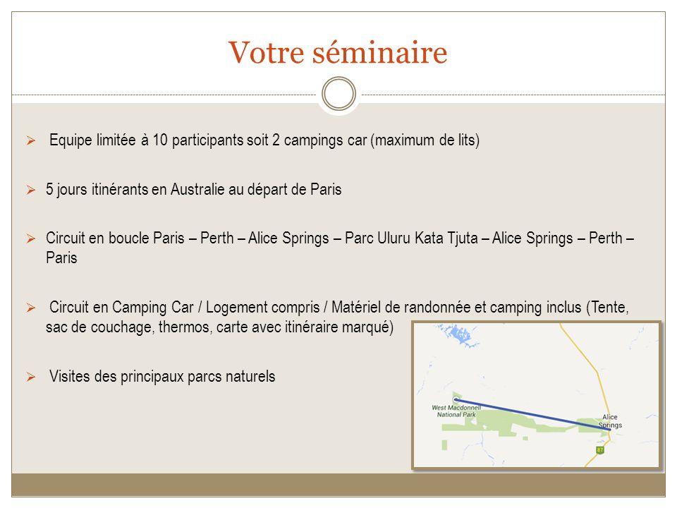 Votre séminaire Equipe limitée à 10 participants soit 2 campings car (maximum de lits) 5 jours itinérants en Australie au départ de Paris.