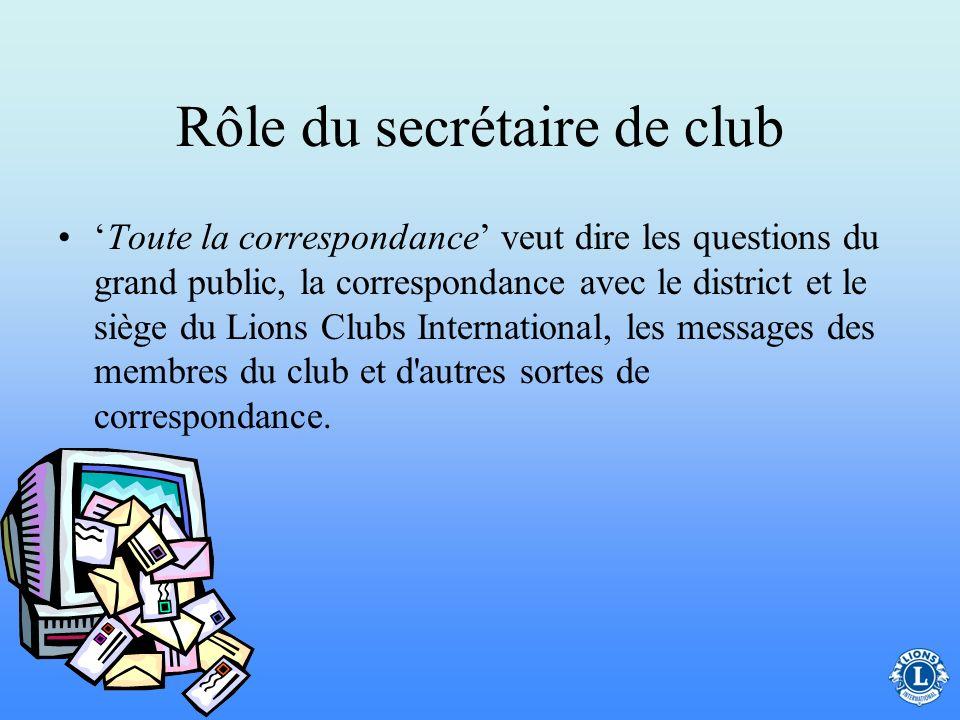 Rôle du secrétaire de club