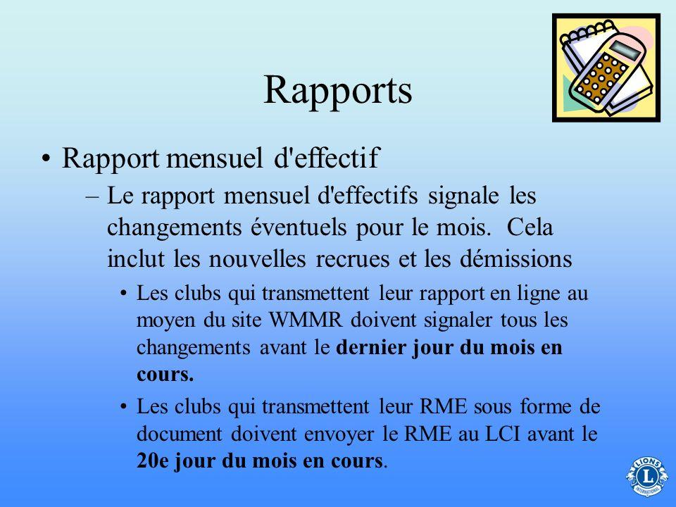Rapports Rapport mensuel d effectif
