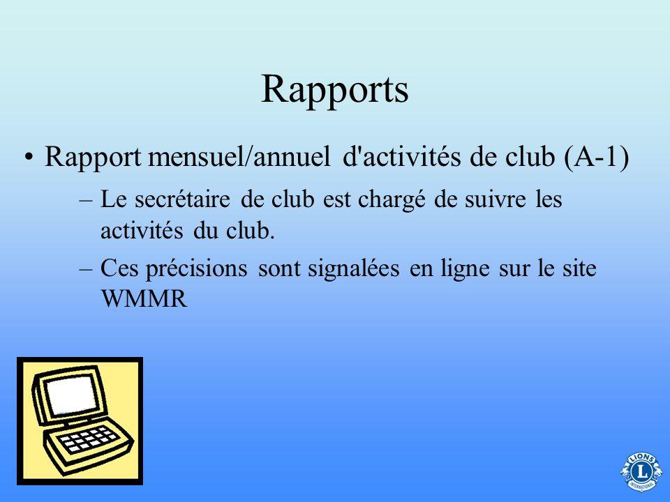 Rapports Rapport mensuel/annuel d activités de club (A-1)