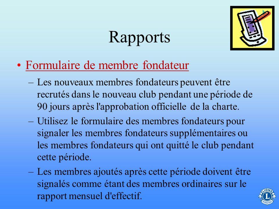 Rapports Formulaire de membre fondateur