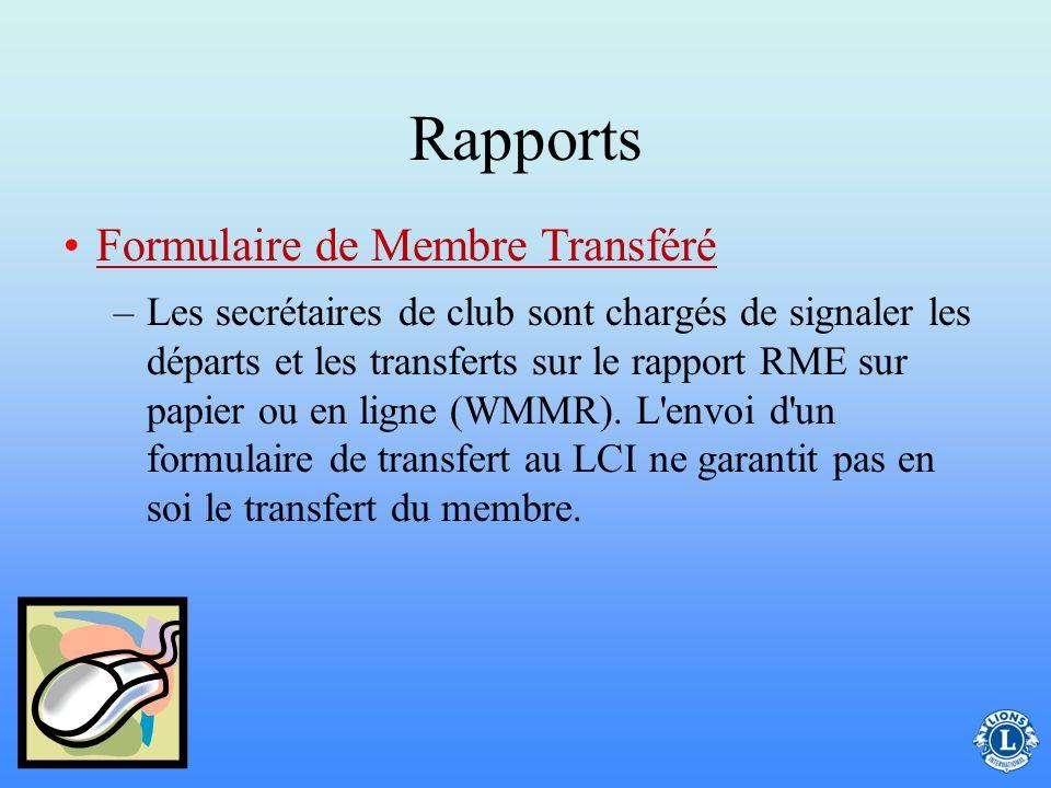 Rapports Formulaire de Membre Transféré