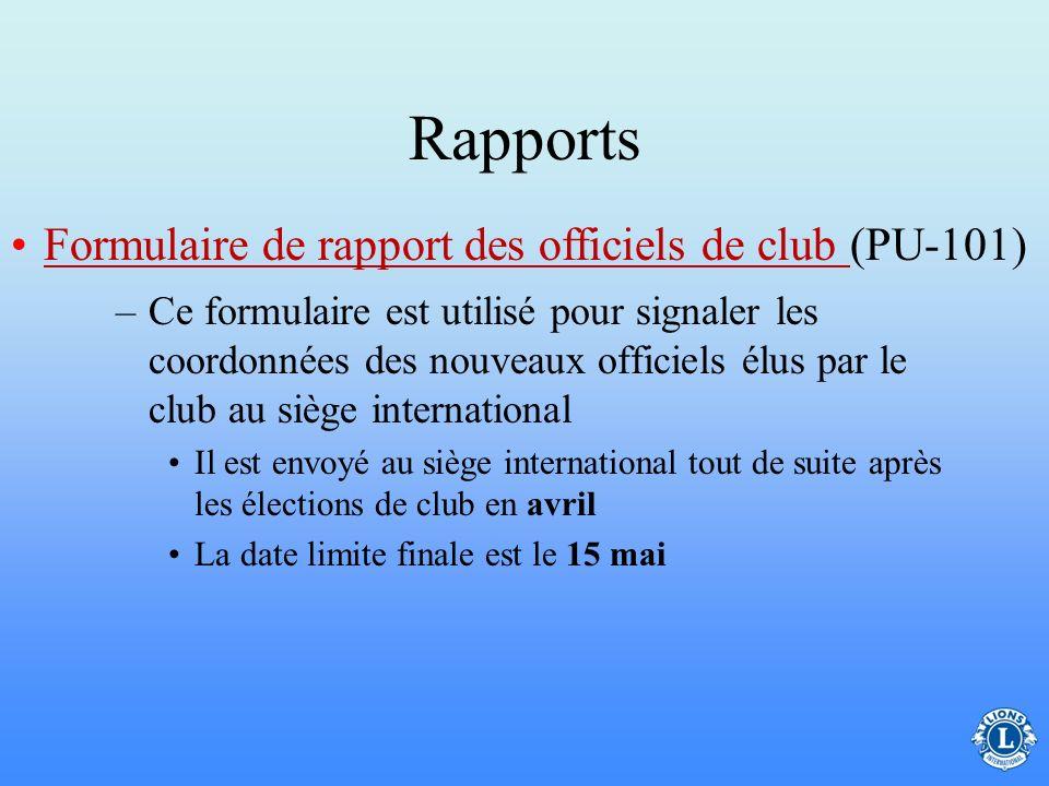 Rapports Formulaire de rapport des officiels de club (PU-101)