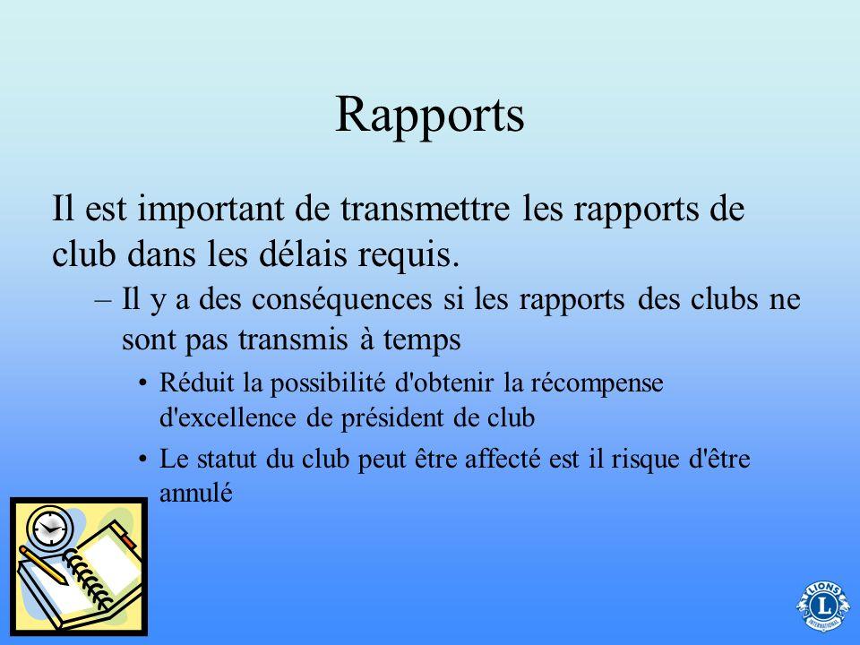 Rapports Il est important de transmettre les rapports de club dans les délais requis.