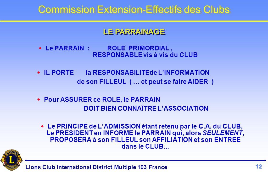 LE PARRAINAGE Le PARRAIN : ROLE PRIMORDIAL , RESPONSABLE vis à vis du CLUB. IL PORTE la RESPONSABILITEde L'INFORMATION.