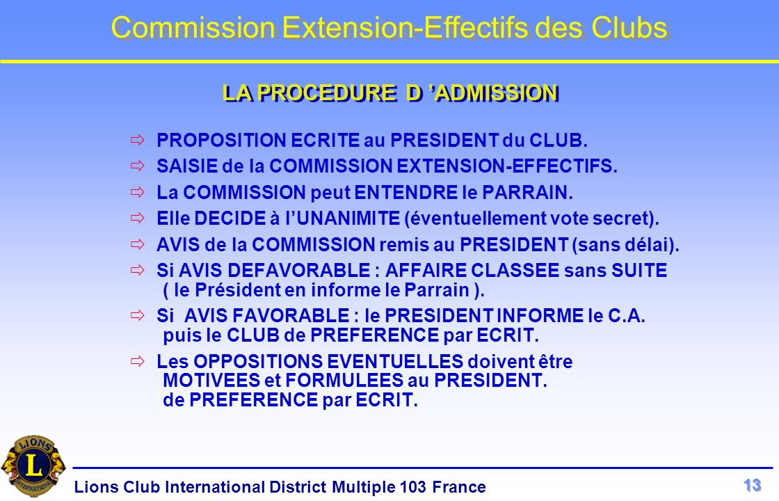 LA PROCEDURE D 'ADMISSION