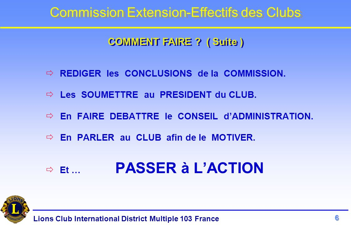 COMMENT FAIRE ( Suite ) Les SOUMETTRE au PRESIDENT du CLUB.