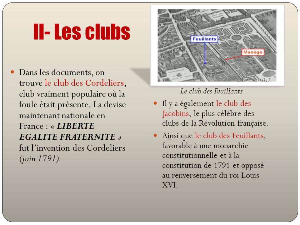 II- Les clubs