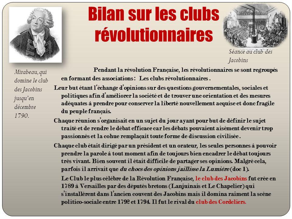Bilan sur les clubs révolutionnaires