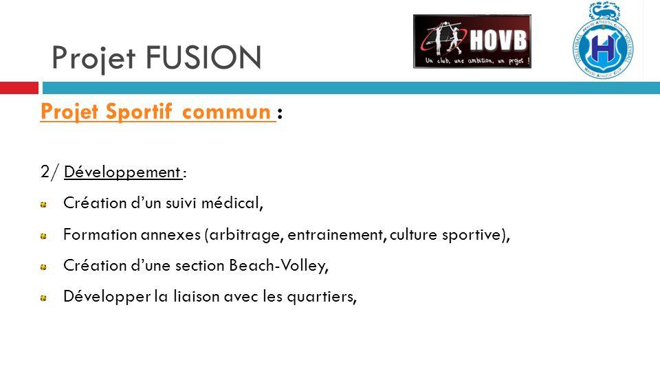 Projet FUSION Projet Sportif commun : 2/ Développement :
