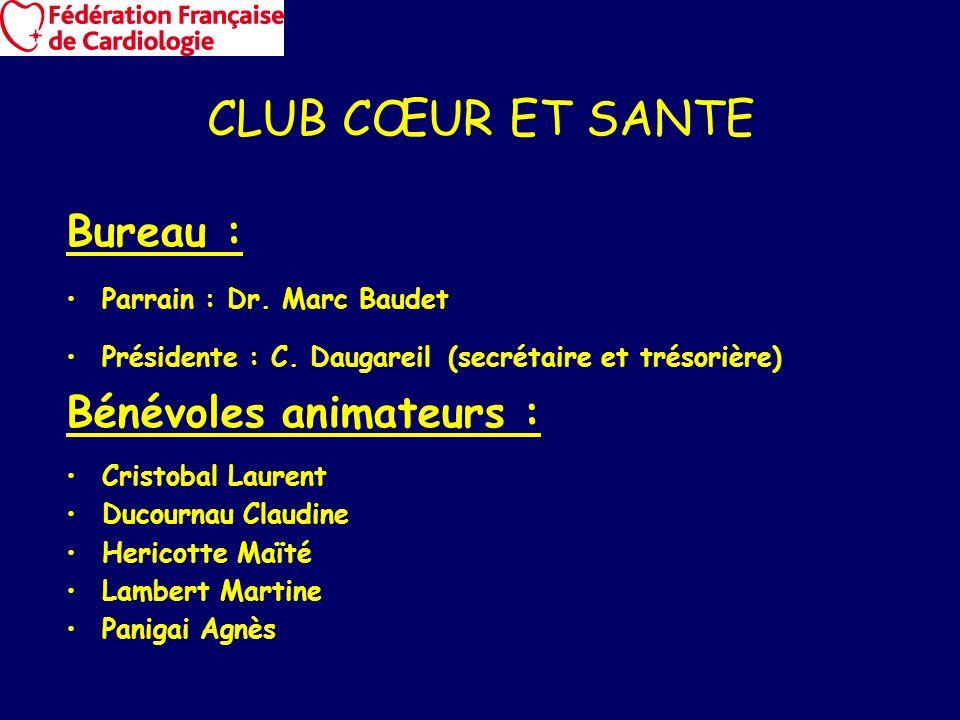 CLUB CŒUR ET SANTE Bureau : Bénévoles animateurs :